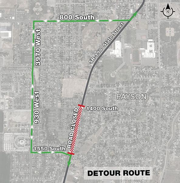 Road Closure and Detour 1550 S at State