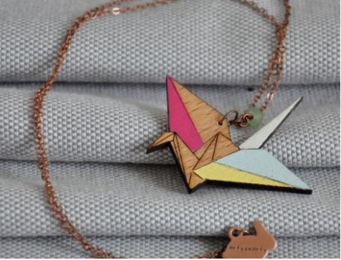 Jam Art Factory http://jamartfactory.com/product/origami-crane-woodcut-necklace/