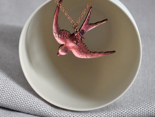 Jam Art Factory http://jamartfactory.com/product/pink-swallow-necklace/