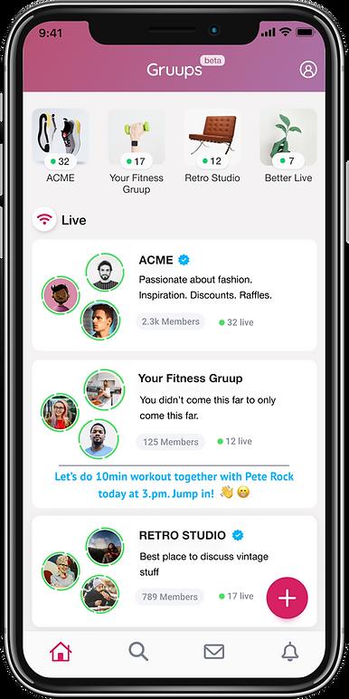 Gruups App Home Screen