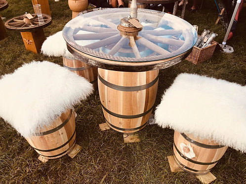 Oak Barrel Table & 4 Stools With Duck Down Mongolian Lamb Cushions