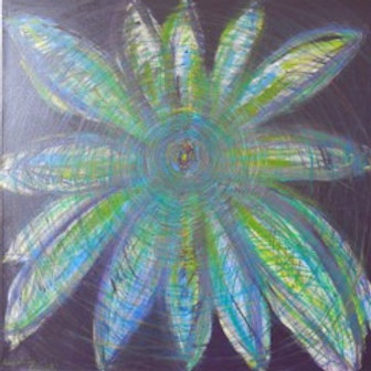 Flower of Energy in Blue Mixed Media