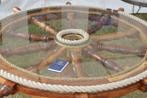 Rare Ships Wheel Table Finished with Rope and Glass