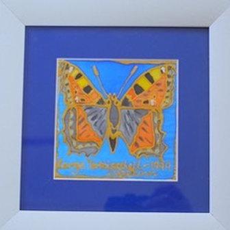 Tortoiseshell Butterfly on Silk