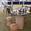Thumbnail: Large Cartwheel Table - Solid Oak Base & Includes 4 x champagne Cork Stools
