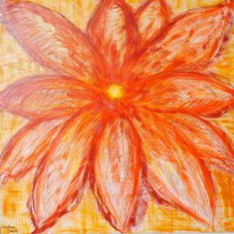 Flower of Energy in Yellow Mixed Media