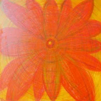 Flower of Energy in Red Mixed Media