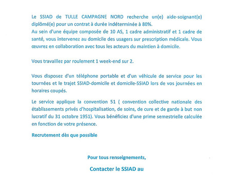 SSIAD DE TULLE CAMPAGNE NORD: OFFRE D'EMPLOI AIDE-SOIGNANTE