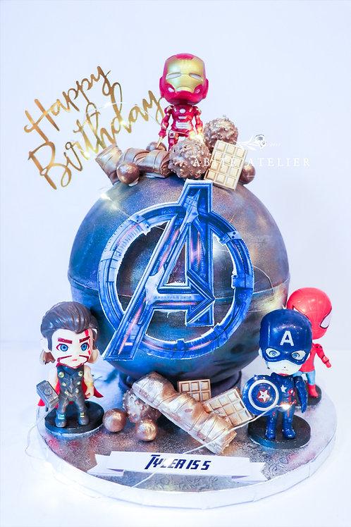 Avengers Piñata Cake