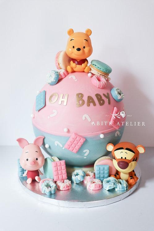 Gender Reveal Baby Pooh Piñata Cake