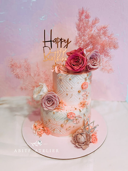 Mimosa Floral Buttercream Cake