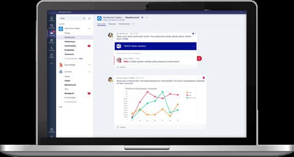 Microsoft Teams käyttöliittymä