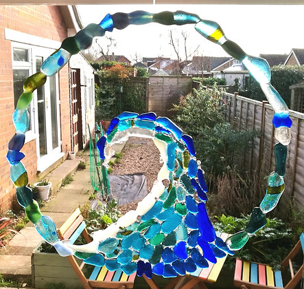 Fused sea glass infinity wave