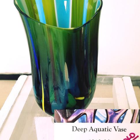 Deep Rippled Aquatic Vase