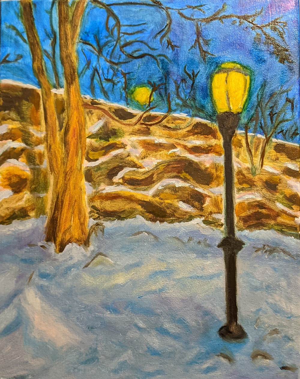 painting of snow covered ground, bright yellow lamp post, tree and stone wall, with blue dusk sky