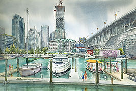 Granville Island, 2018, Watercolour on p