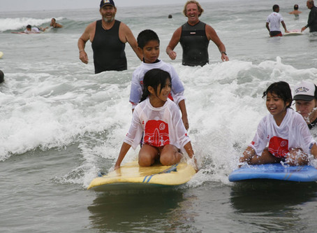Day at the Beach with Special Surfers