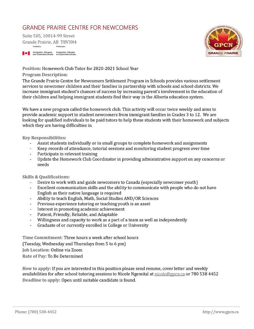 Tutor Recruitment Job Description - Home