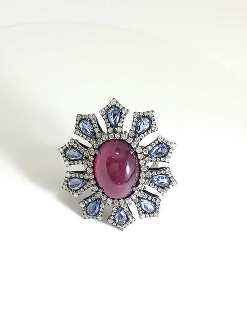 Custom made one of kind Ruby, sapphires and diamond ring