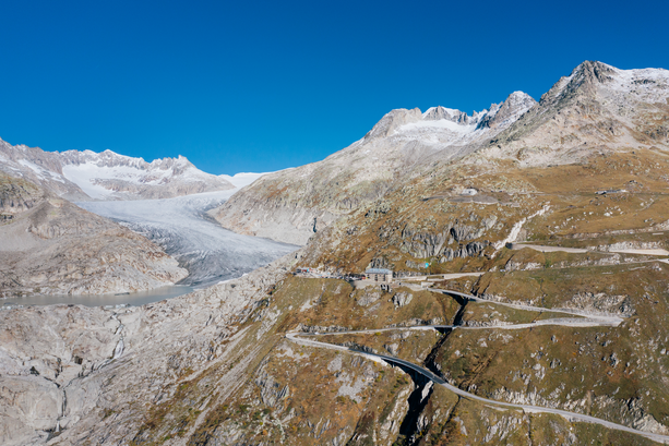 On the left, what is left of the Rhône Glacier and in the centre, Hotel Belvédère. Photo by donwogdo_Getty Images
