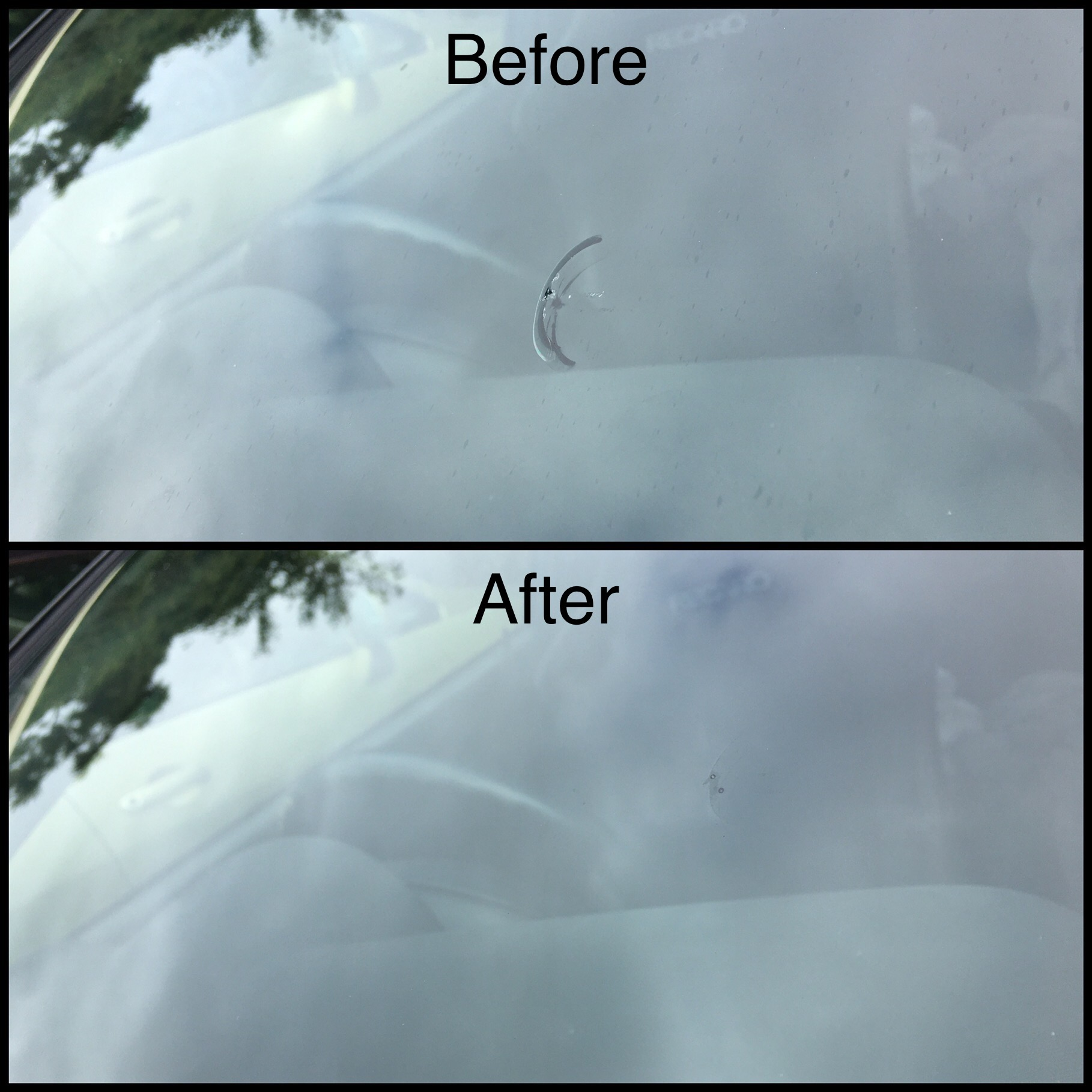 Windscreen Repair of 25mm Horseshoe Chip