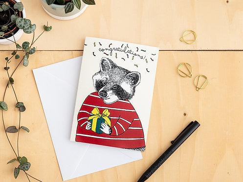 Congratulations! Raccoon Card