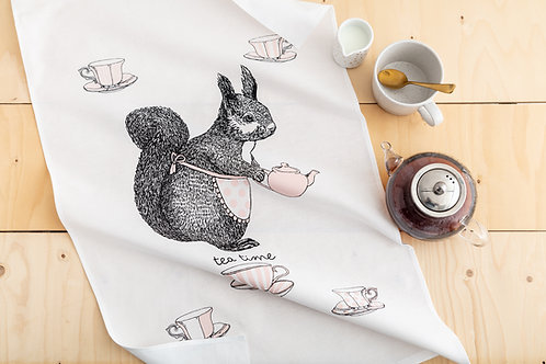 Coco the Squirrel Tea Towel