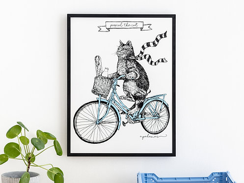 Cat on a Bike Print 'Pascal The Cat' Illustration Silk Screen Printed Wall Art
