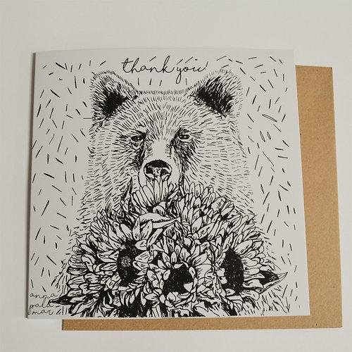 Yellow Bear Hoodie Silk Screen Printed 'Bear with Sunflowers' Illustrated Hoodie