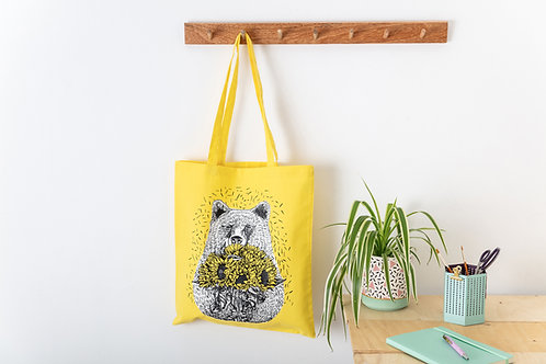 Bear with Sunflowers Yellow Silk Screen Printed Tote