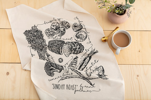 'Sunday Roast' Hand Screen Printed Cotton Tea Towel