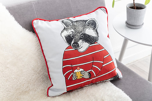 Raccoon Loves Cake Cushion