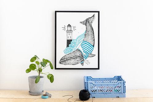 Whale Screen Print