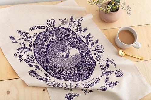 Silk Screen Printed Woodland Fox Tea Towel