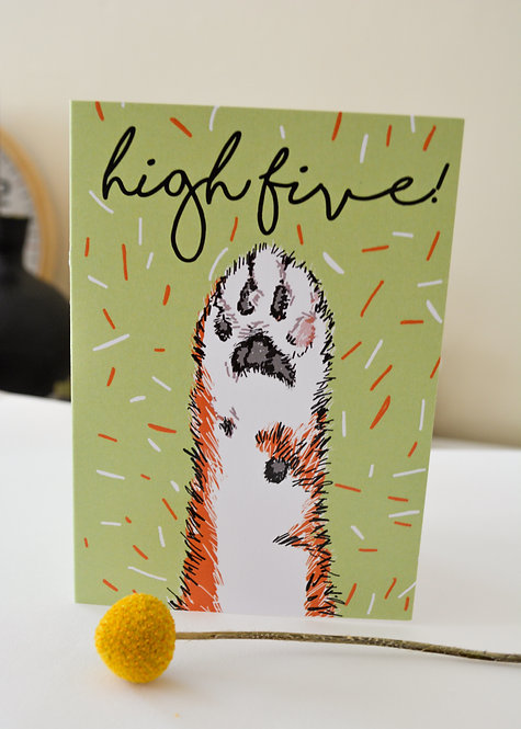 'High Five' Cat Paw Greeting A6 Card