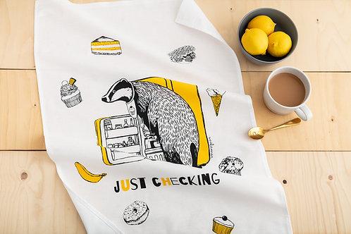 Cheeky Badger Tea Towel 'Just Checking'