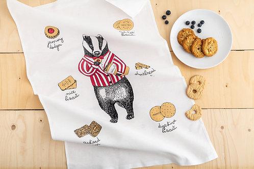 Mr Badger Loves Biscuits Tea Towel