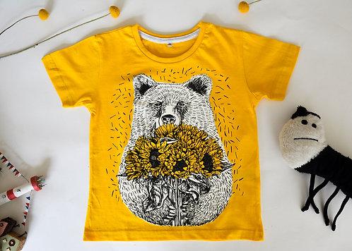 Bear with Sunflowers Kids T-Shirt