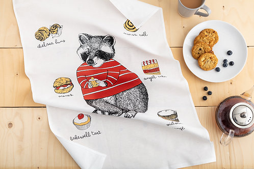Raccoon Loves Cakes Tea Towel