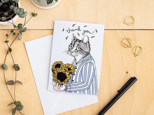 Cute Cat with Flowers Thank You Card