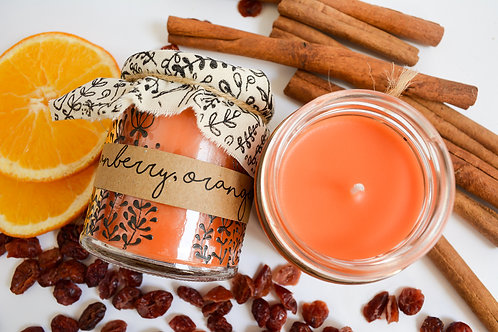 Hand Poured Candle 'Cranberry, Orange & Cinnamon'