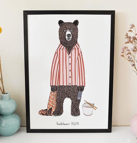 Mr Bear in Lockdown Print