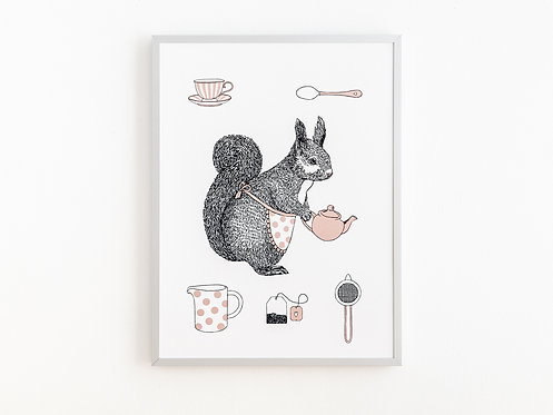 Coco the Squirrel Tea Time Wall Art