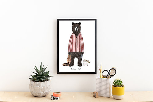 Mr Bear in Lockdown Print