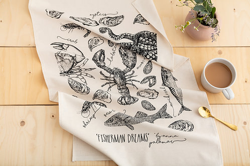 'Fisherman Dreams' Silk Screen Printed Tea Towel