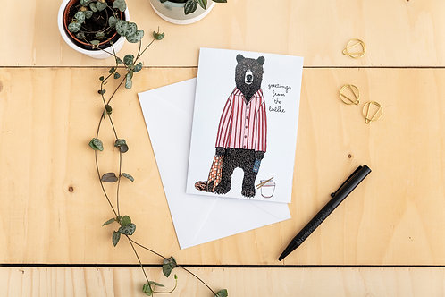'Greetings from the Bubble' Lockdown Bear Card