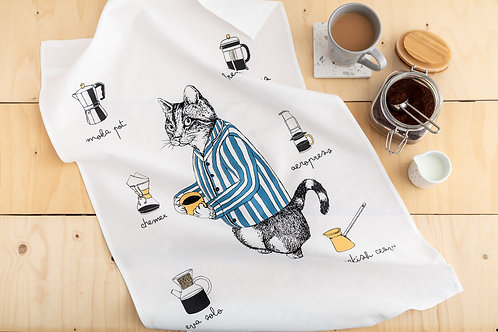 Coffee Lover Cat Tea Towel
