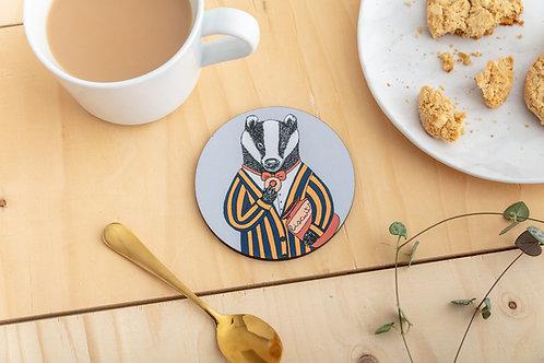Mr Badger Loves Biscuits Coaster