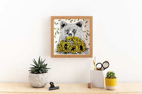 Bear with Sunflowers Screen Print