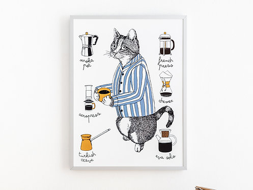 Cat with a Coffee Print